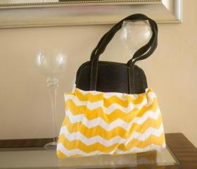 Yellow Chevron Large Pleated Purse - Large Bag - Diaper Bag - Tote Handbag - Book bag - School bag -'Showoff Bag'-'Show Off Bag'