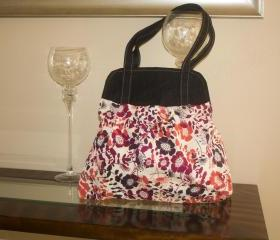 Large Pleated Purse - Large Bag - Diaper Bag - Tote - Handbag - Book bag - School bag-Flower/Denim -'Showoff Bag'-'Show Off Bag'
